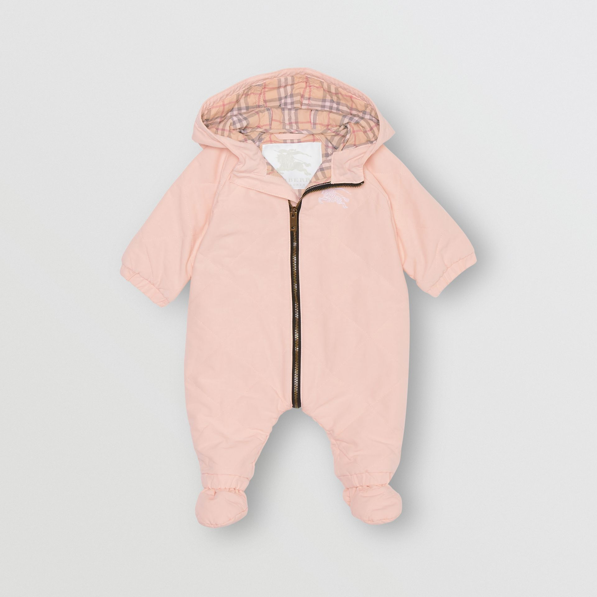 Diamond Quilted Cotton All-in-One in Dusty Pink - Children | Burberry United States - gallery image 0