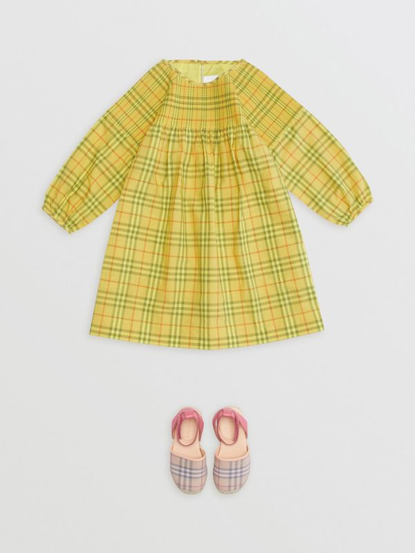 Smocked Check Cotton Dress in Citrus Yellow | Burberry - cell image 2