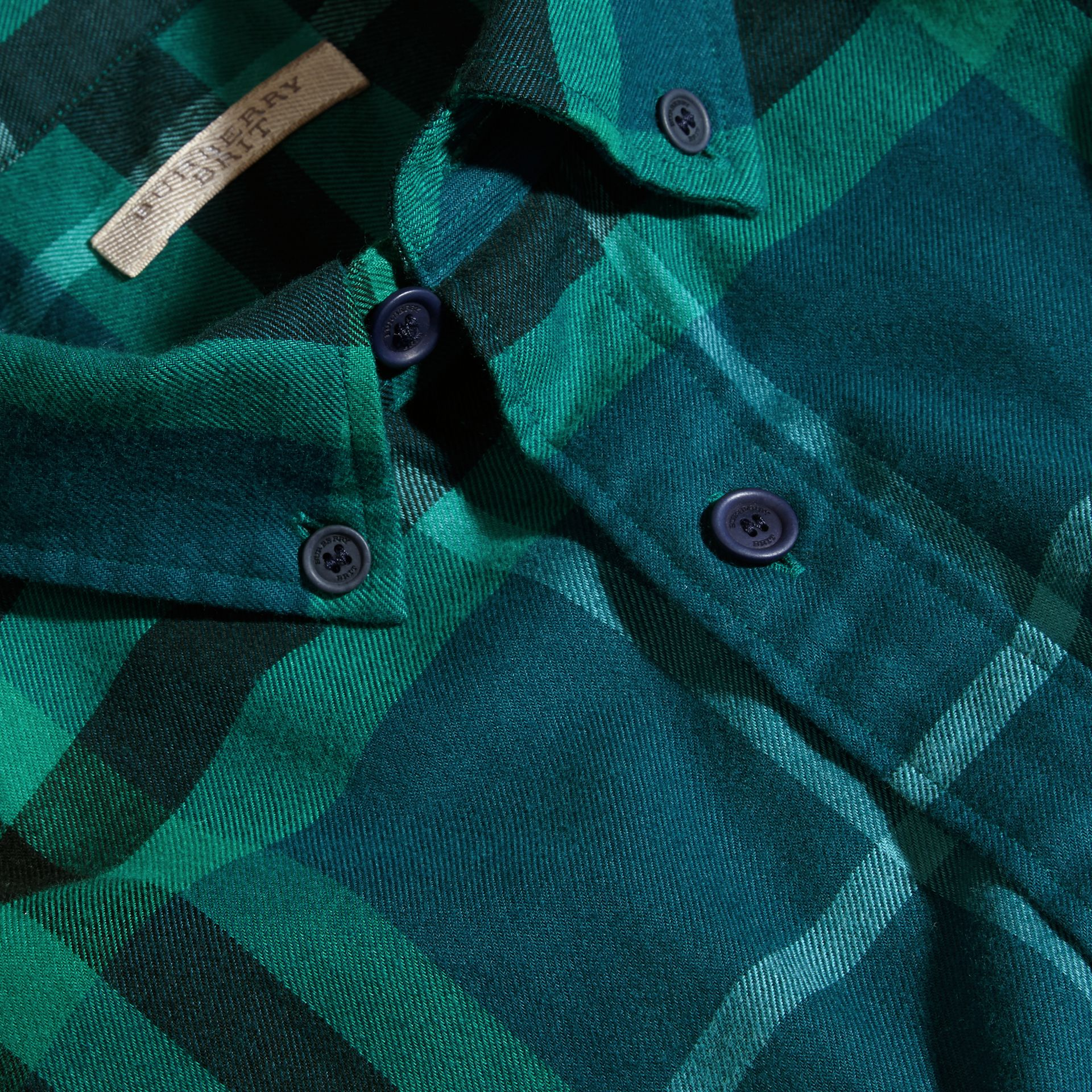 Mineral blue Check Cotton Flannel Shirt Mineral Blue - gallery image 2