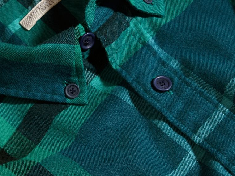 Mineral blue Check Cotton Flannel Shirt Mineral Blue - cell image 1
