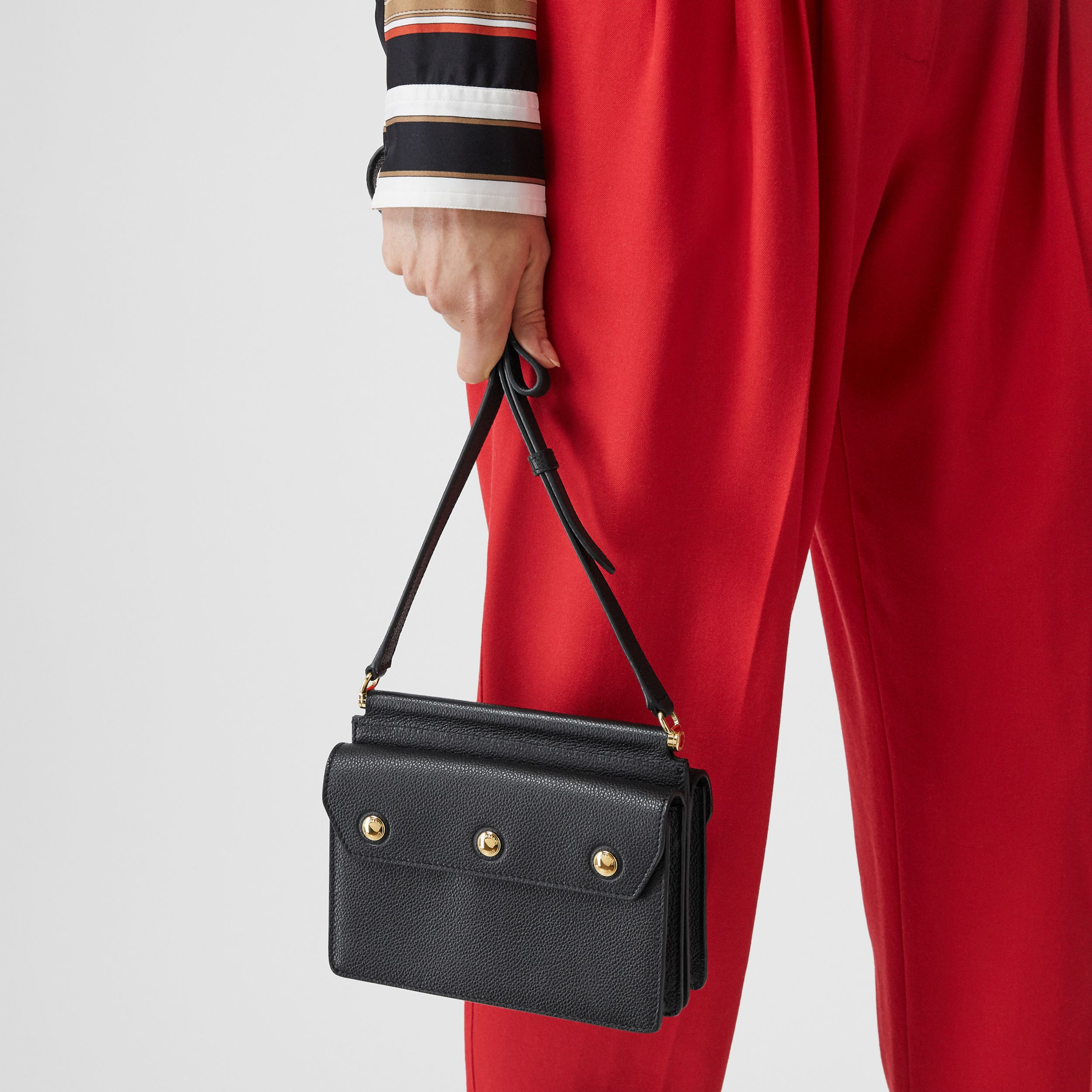 Mini Leather Title Bag with Pocket Detail in Black - Women | Burberry - 3