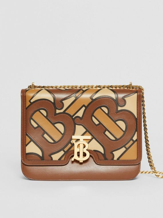 Medium Monogram Appliqué Leather TB Bag in Brown