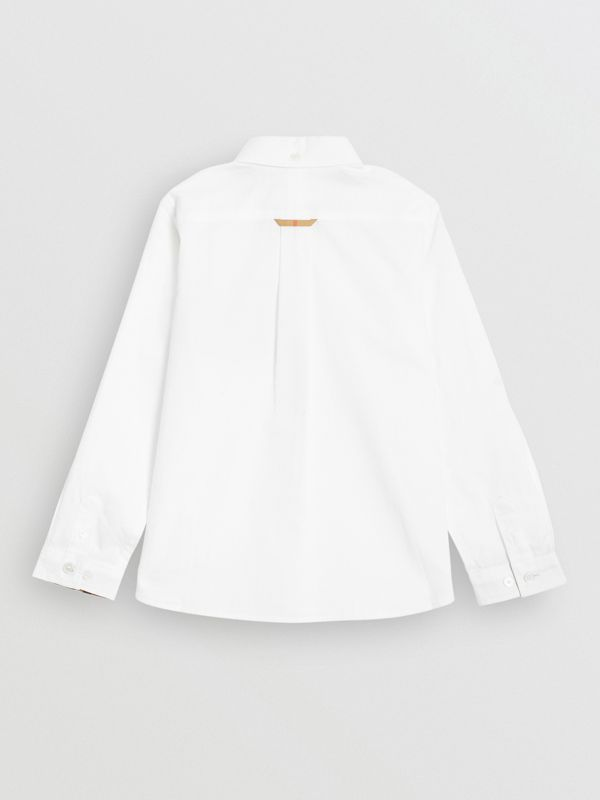 Check Detail Cotton Oxford Shirt in White | Burberry - cell image 3
