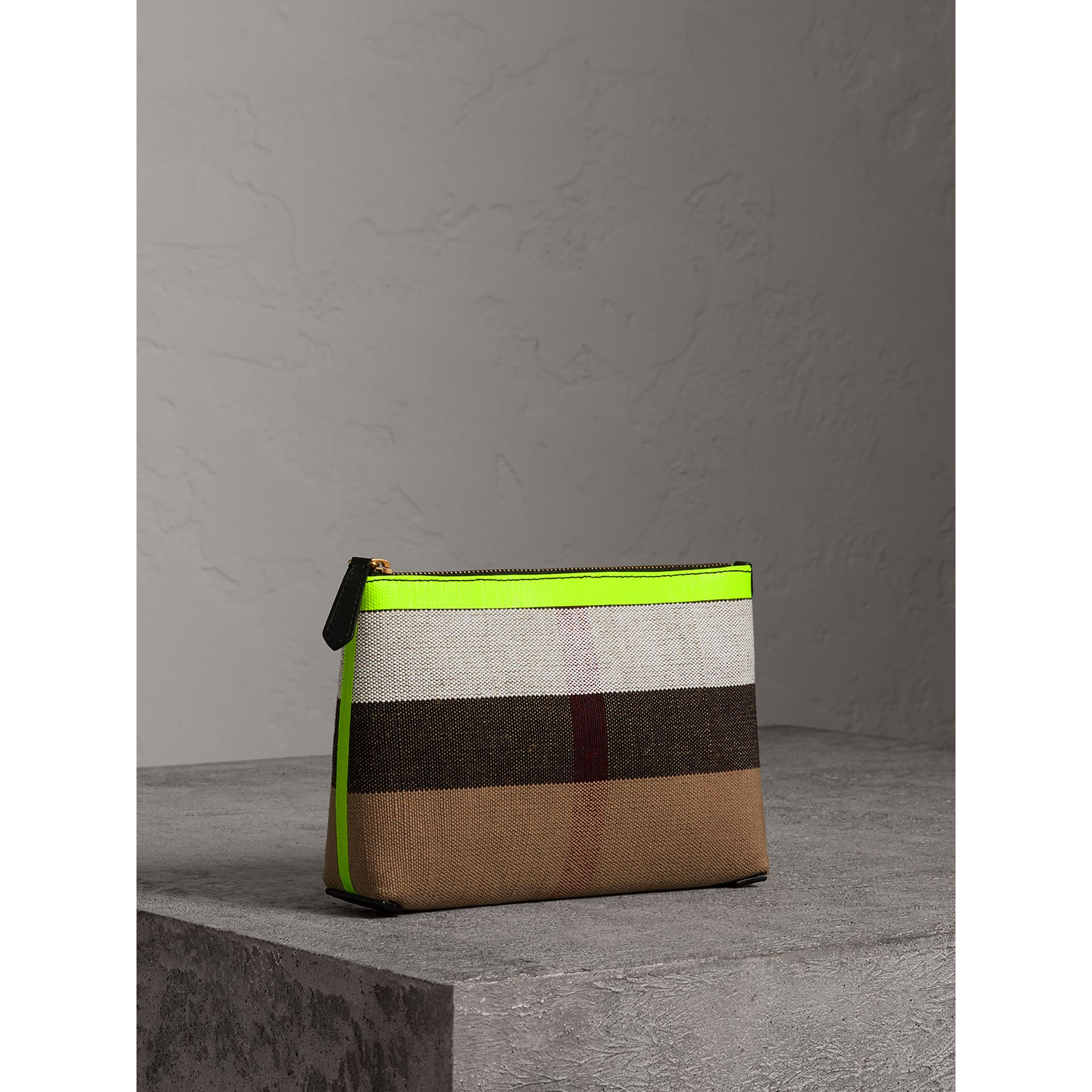 Medium Check Canvas and Leather Zip Pouch in Black/neon Yellow - Women | Burberry - gallery image 4