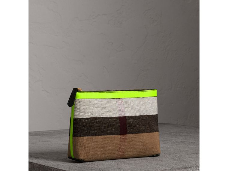 Medium Check Canvas and Leather Zip Pouch in Black/neon Yellow - Women | Burberry United Kingdom - cell image 4