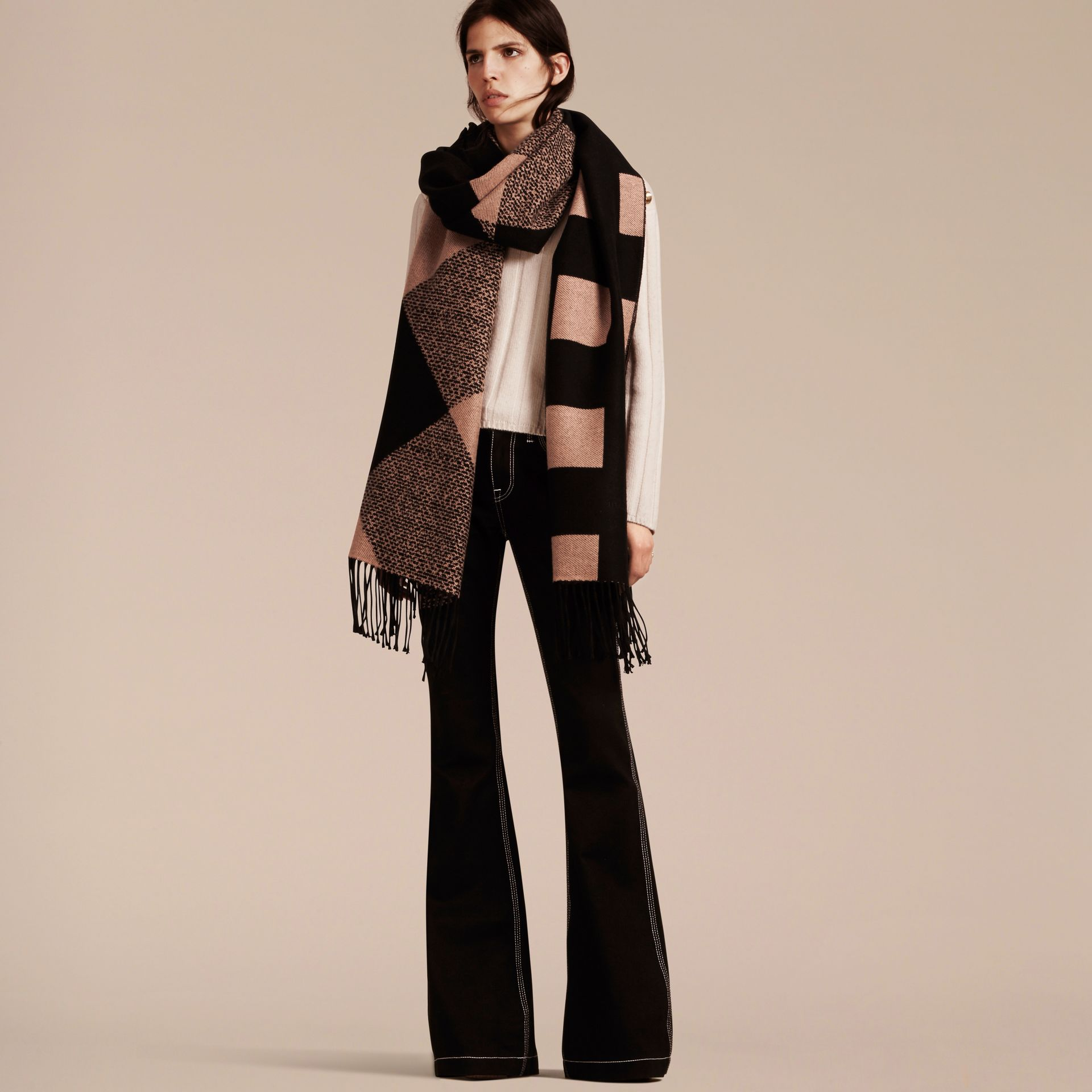 Mid camel/black Reversible Check Cashmere Scarf Mid Camel/black - gallery image 3