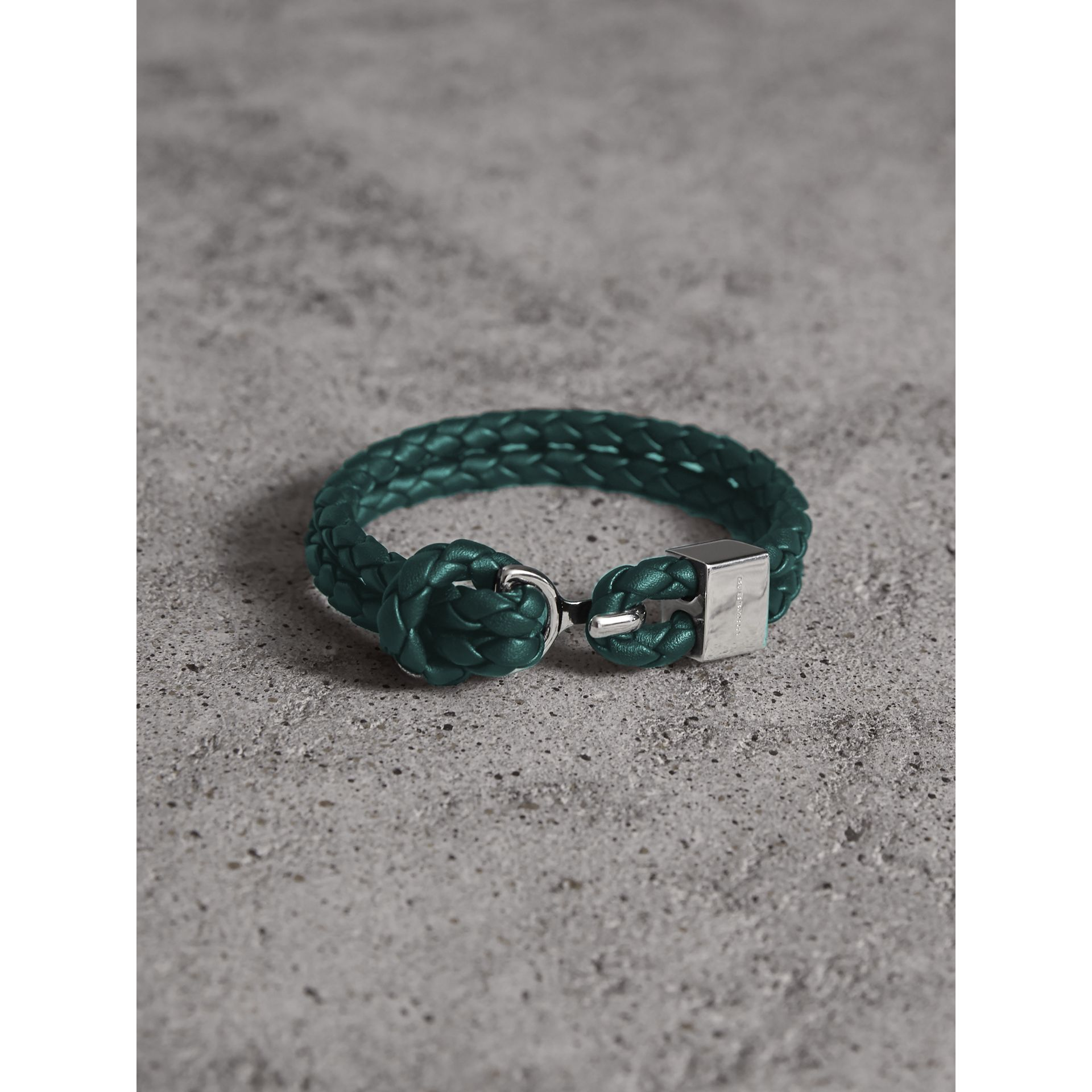 Braided Leather Bracelet in Dark Teal - Men | Burberry Australia - gallery image 1