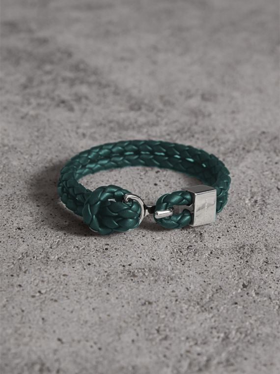 Braided Leather Bracelet in Dark Teal - Men | Burberry Canada
