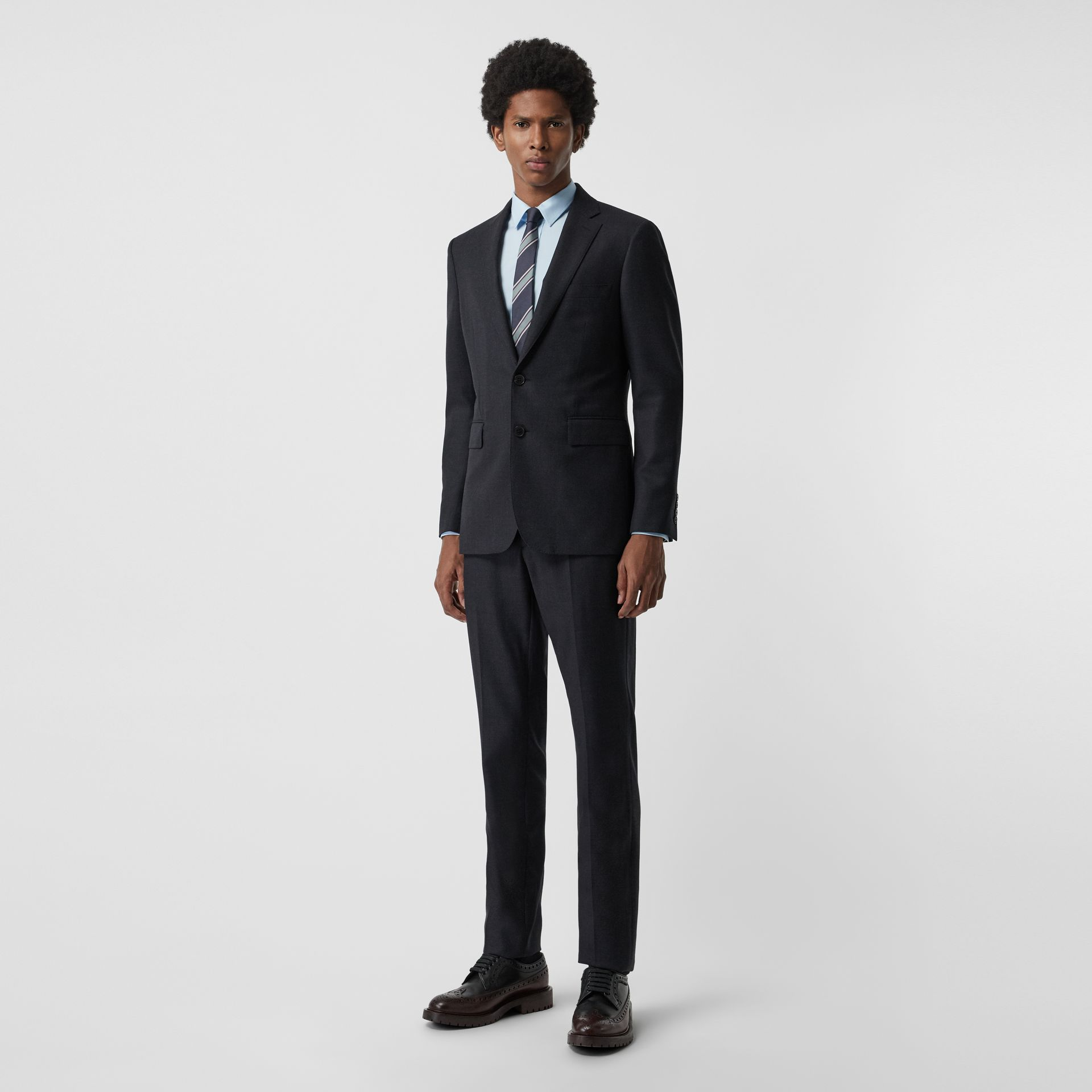 Slim Fit Birdseye Wool Suit in Navy - Men | Burberry - gallery image 0