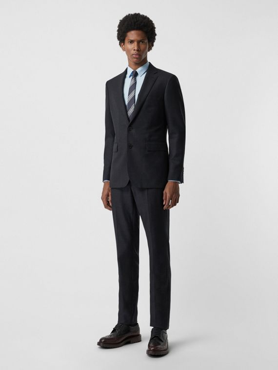 Slim Fit Birdseye Wool Suit in Navy