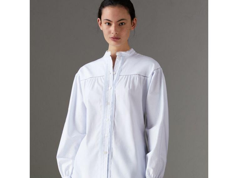 Open-stitch and Pintuck Detail Striped Cotton Shirt in Light Blue - Women | Burberry - cell image 4