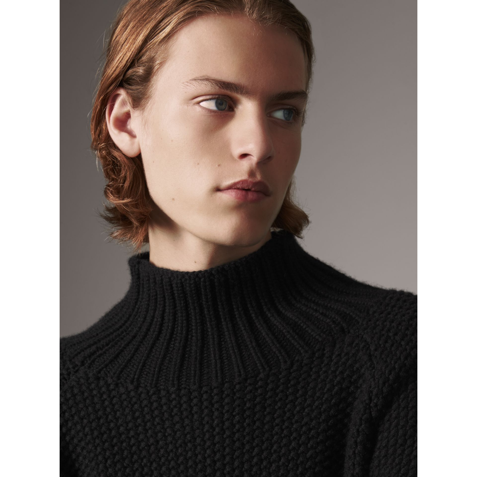 Cashmere Fisherman Sweater in Black - Men | Burberry - gallery image 4