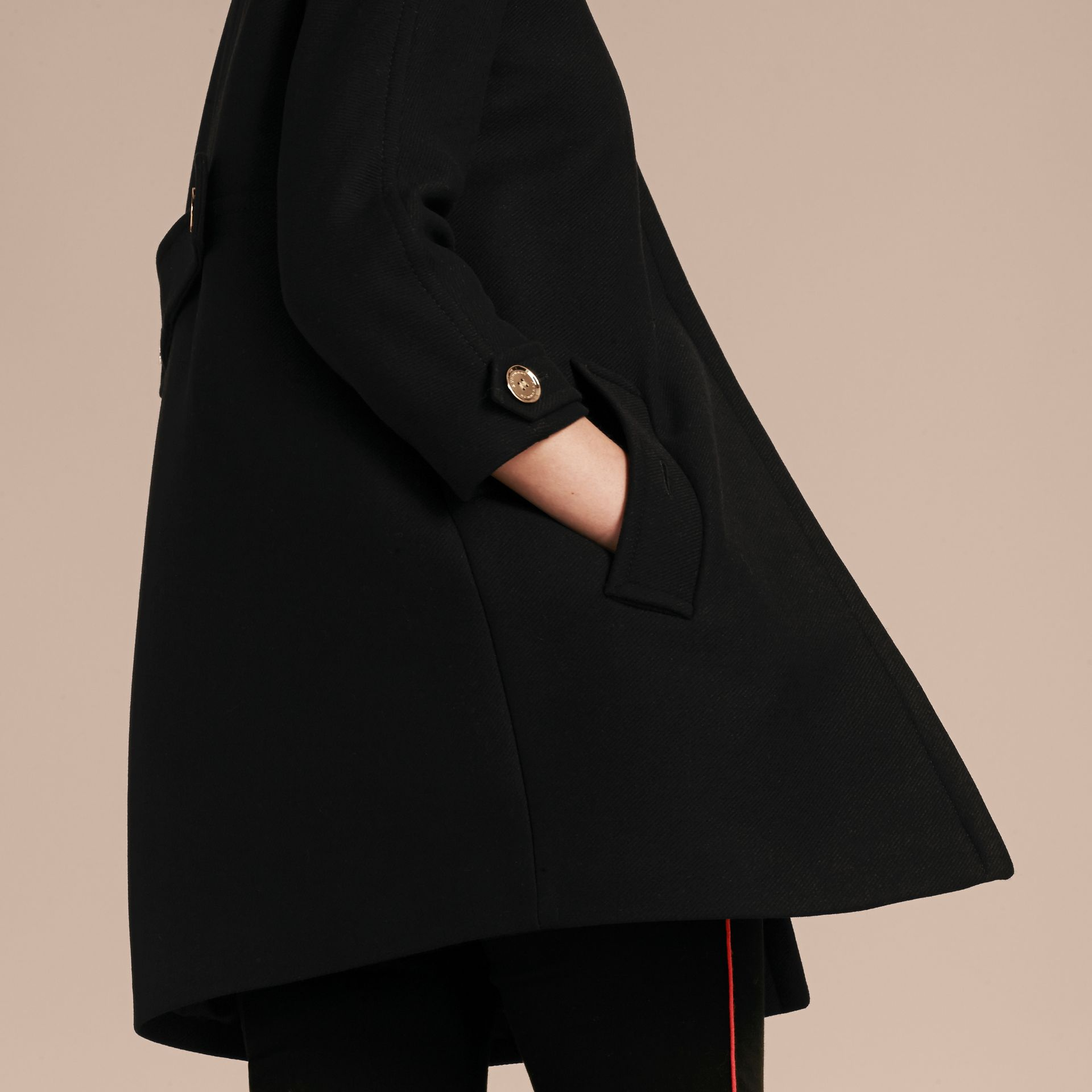 Black Technical Wool Cashmere Collarless Coat Black - gallery image 6
