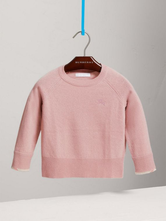 Check Detail Cashmere Sweater in Dusty Pink - Girl | Burberry Hong Kong - cell image 2