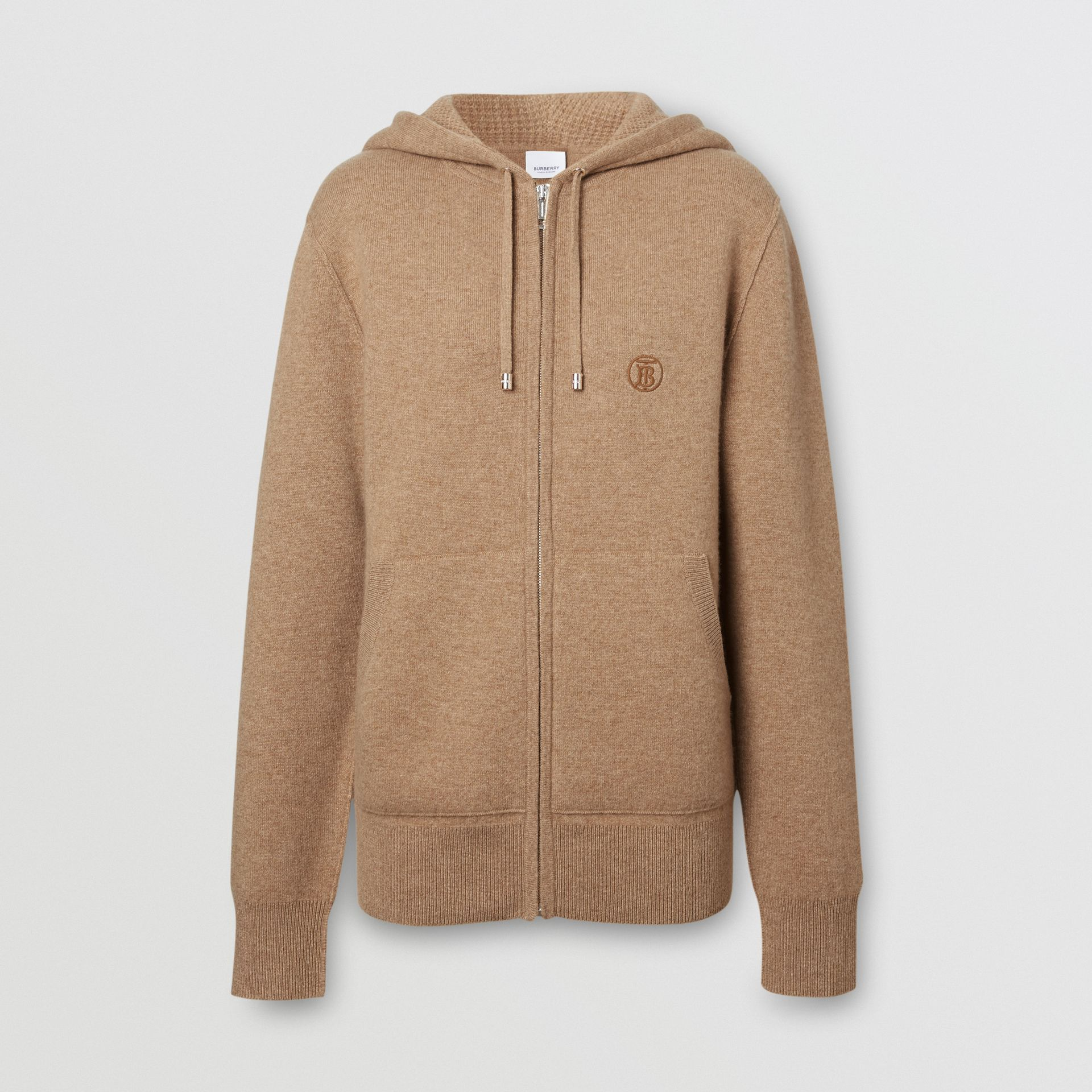 Monogram Motif Cashmere Blend Hooded Top in Pale Coffee - Women | Burberry United Kingdom - gallery image 3