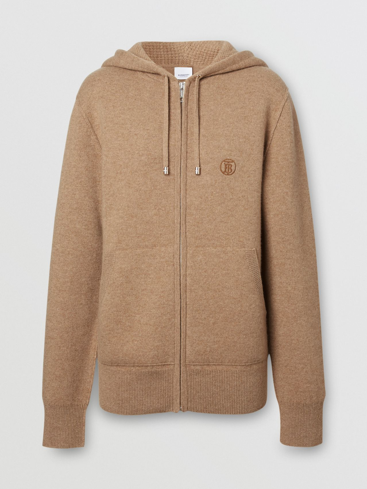 Monogram Motif Cashmere Blend Hooded Top (Pale Coffee)