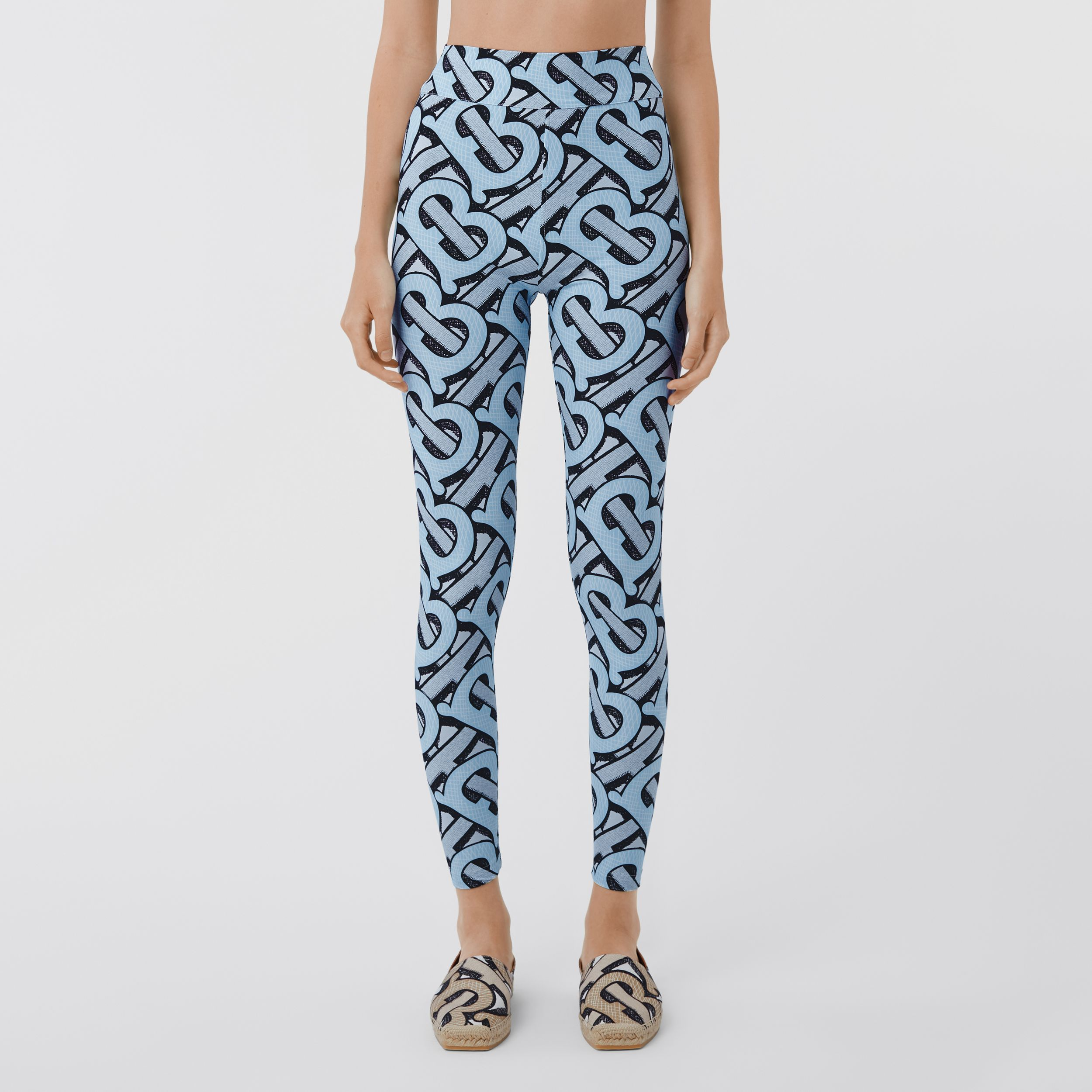 Monogram Print Stretch Nylon Leggings in Pale Azure - Women | Burberry - 4