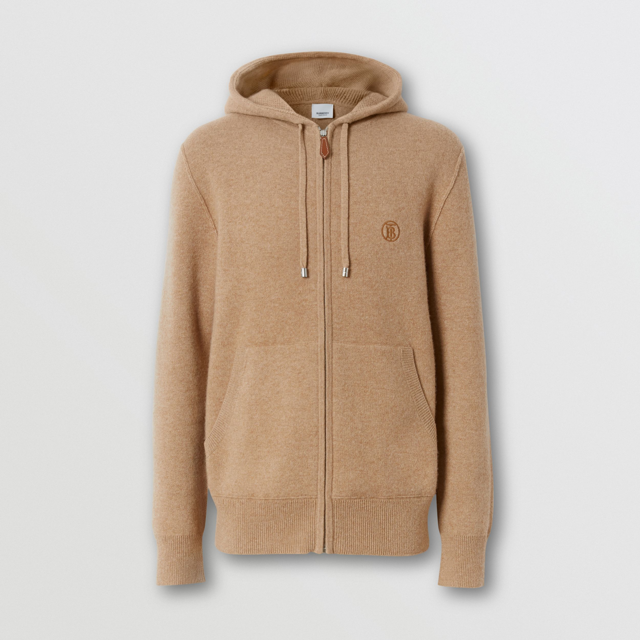 Monogram Motif Cashmere Blend Hooded Top in Pale Coffee - Men | Burberry - 4
