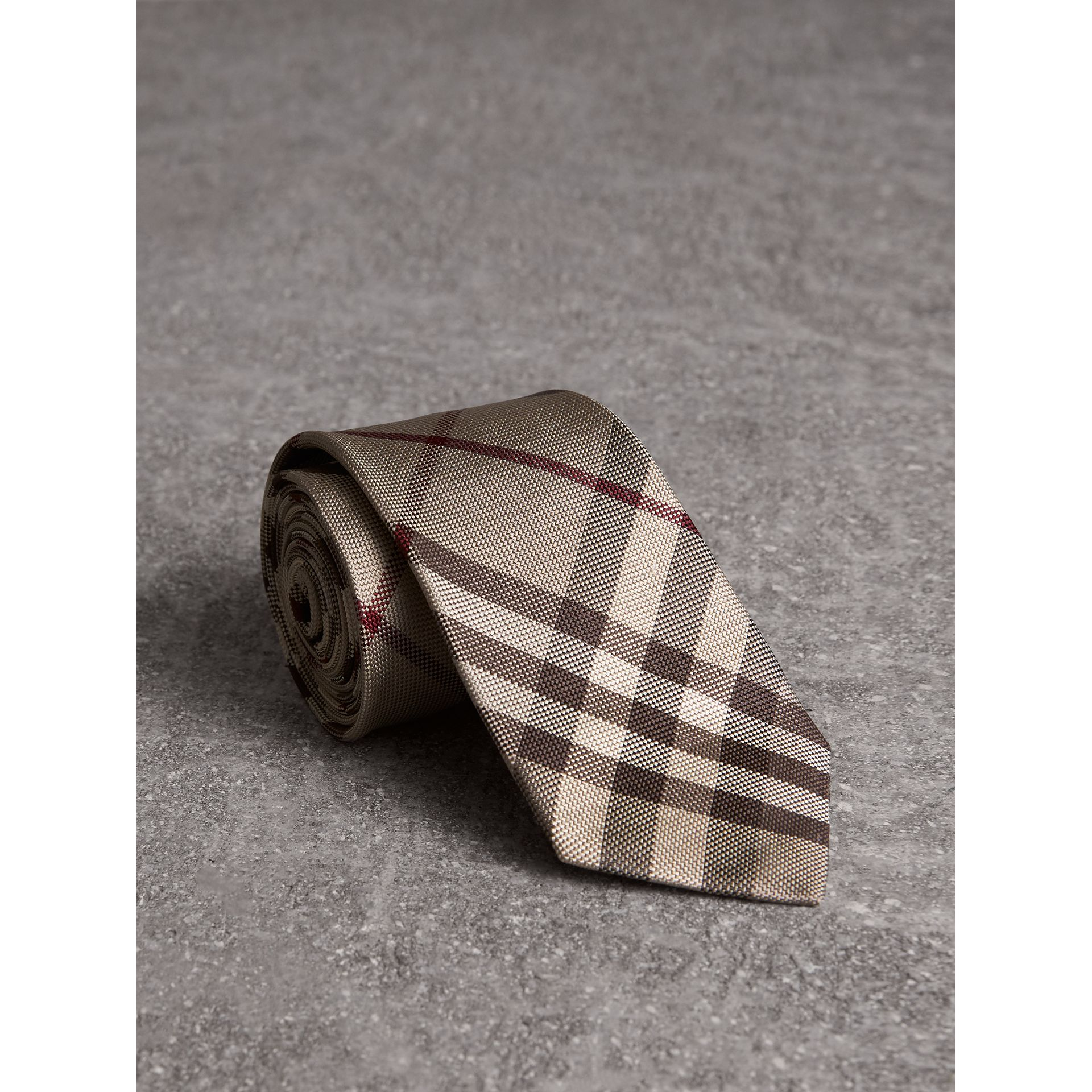 Modern Cut Check Silk Tie in Smoked Trench - Men | Burberry - gallery image 1
