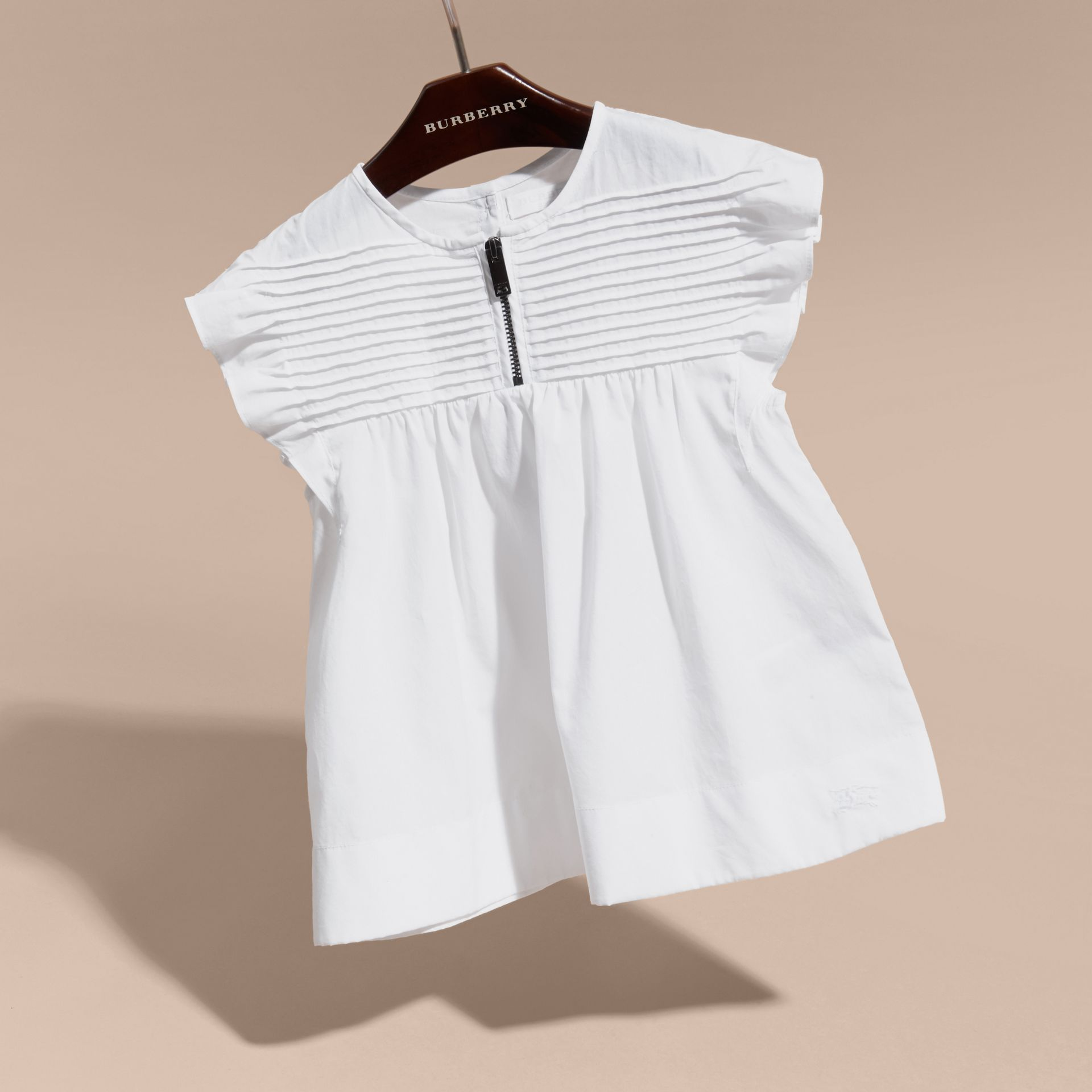 White Pleat and Ruffle Detail Cotton Shirt - gallery image 3
