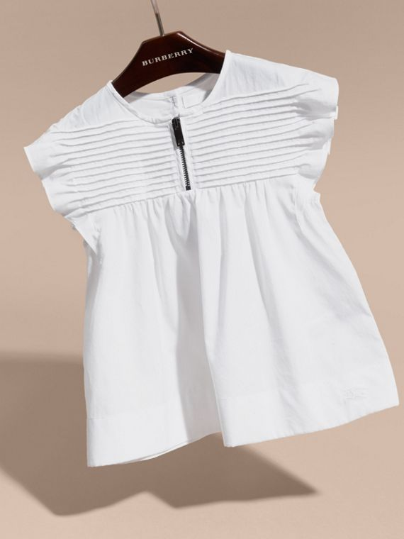 White Pleat and Ruffle Detail Cotton Shirt - cell image 2