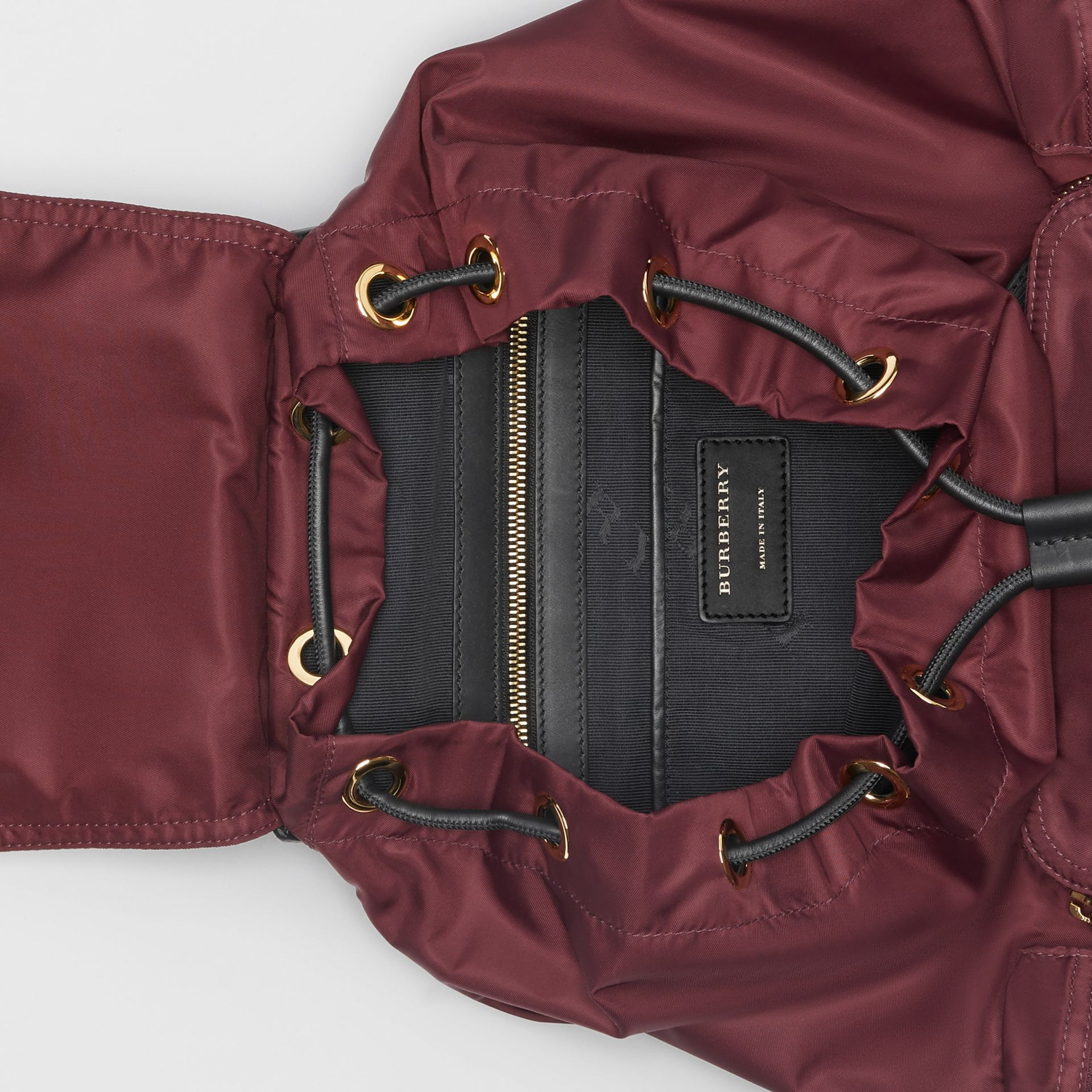 The Large Rucksack in Technical Nylon and Leather in Burgundy Red - Women | Burberry - gallery image 4