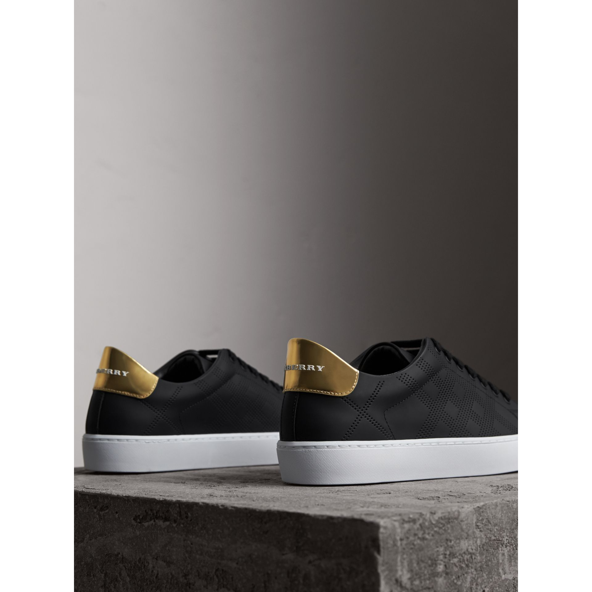 Perforated Check Leather Trainers - gallery image 3