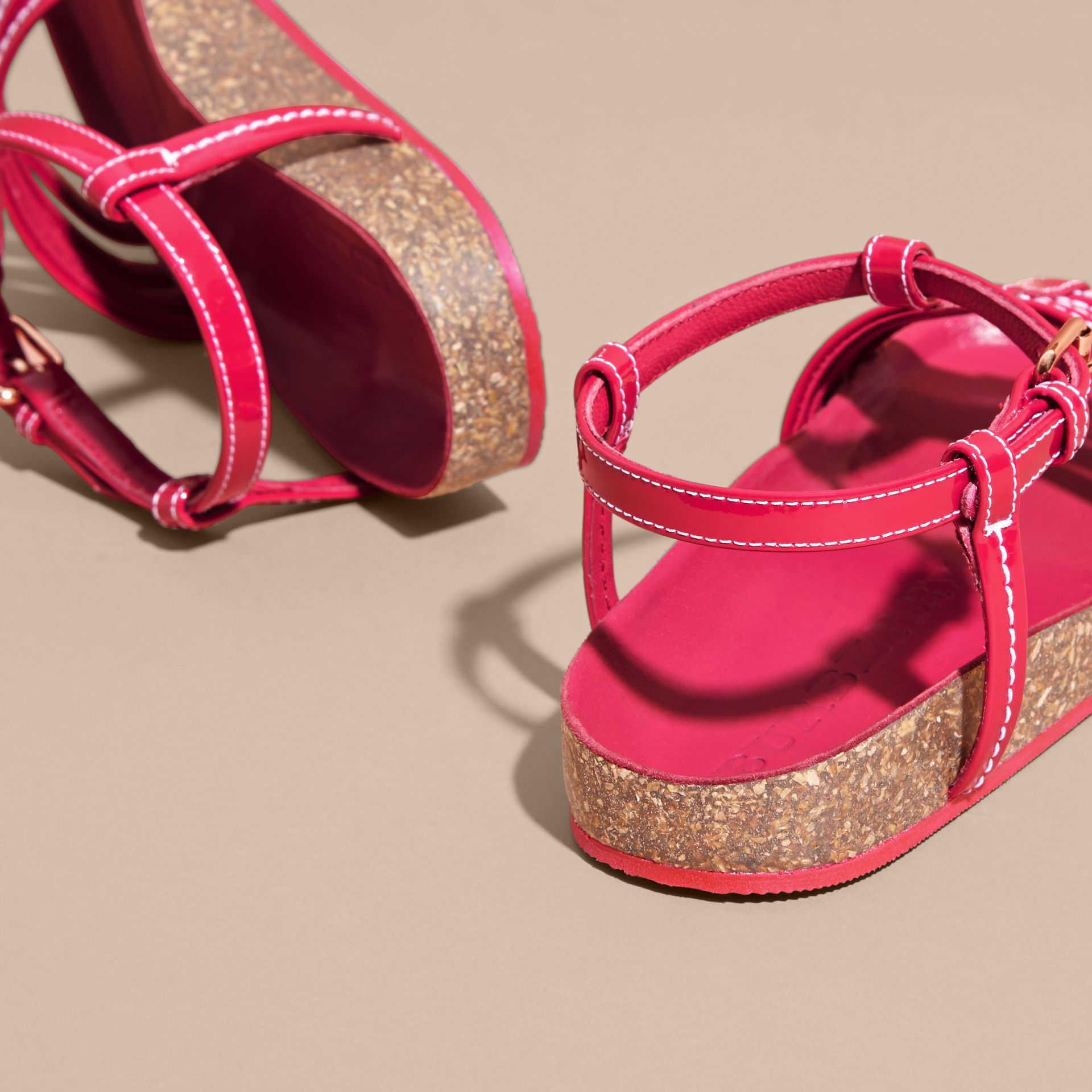 Cork Detail Patent Leather Sandals - Girl | Burberry - gallery image 4