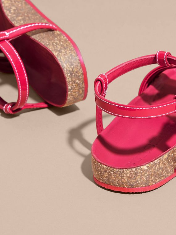 Cork Detail Patent Leather Sandals in Berry Pink | Burberry - cell image 3