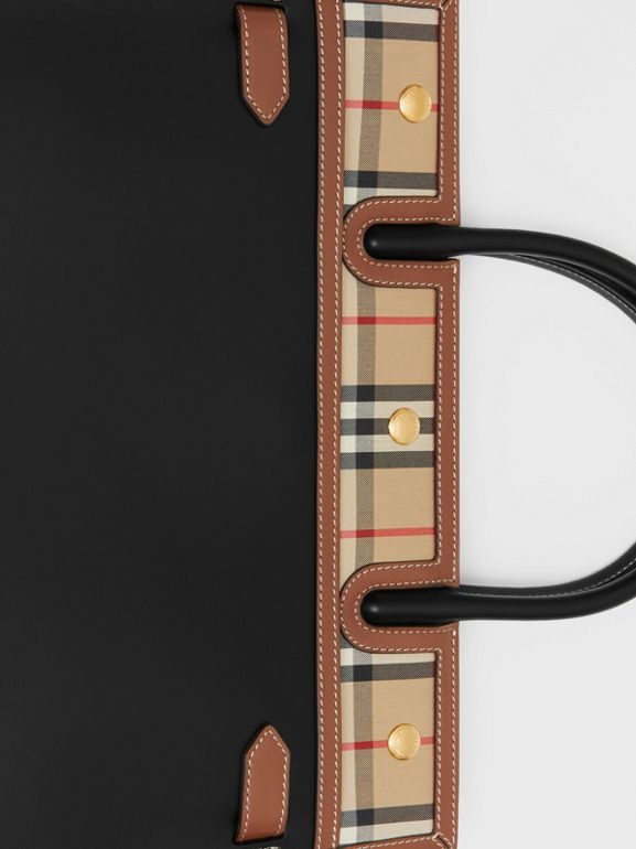 Medium Leather and Vintage Check Two-handle Title Bag in Black - Women | Burberry - cell image 1