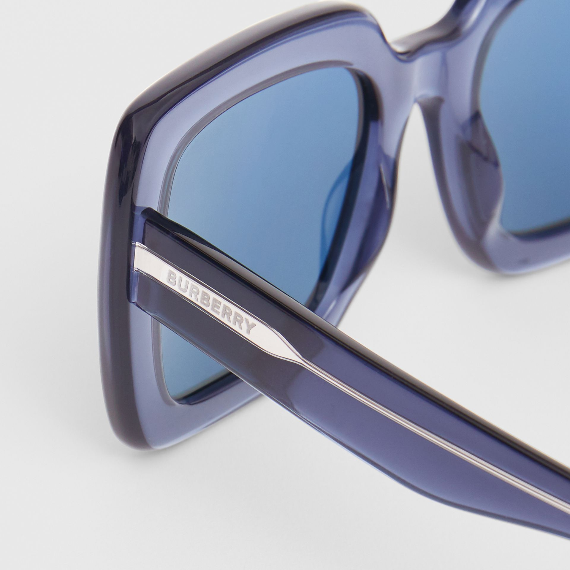 Oversized Square Frame Sunglasses in Blue - Women | Burberry - gallery image 1