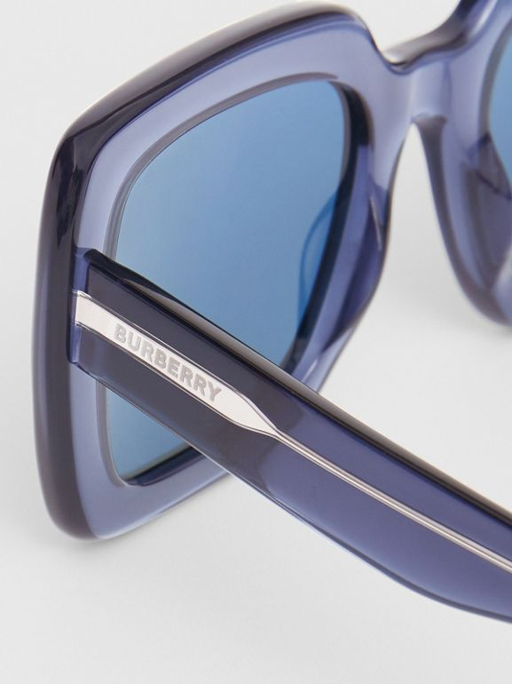Oversized Square Frame Sunglasses in Blue - Women | Burberry - cell image 1