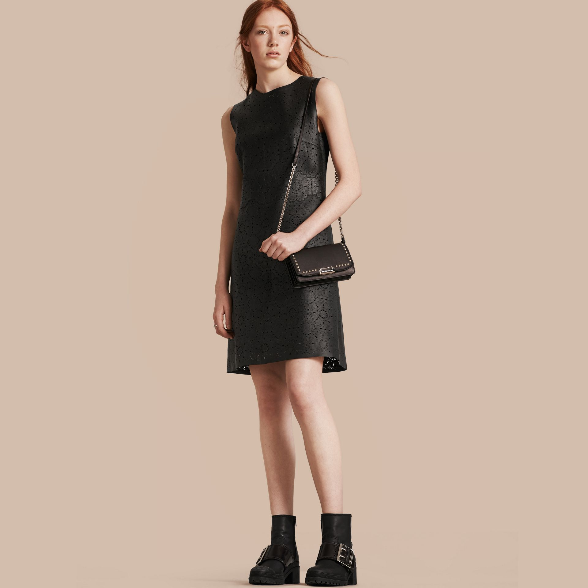 Black Laser-cut Lace Lambskin Shift Dress - gallery image 1