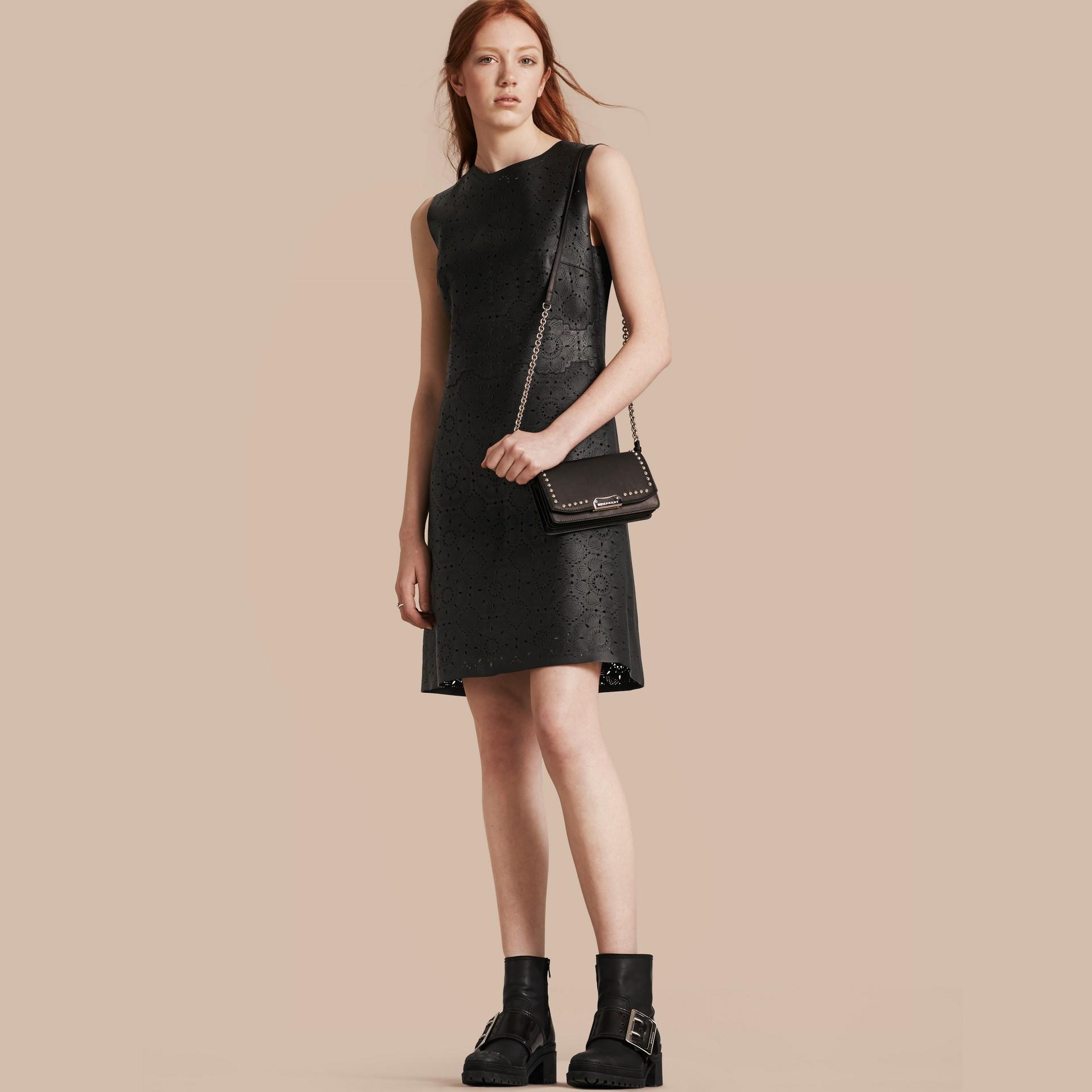 Черный Платье из кожи с эффектом кружева - изображение 1
