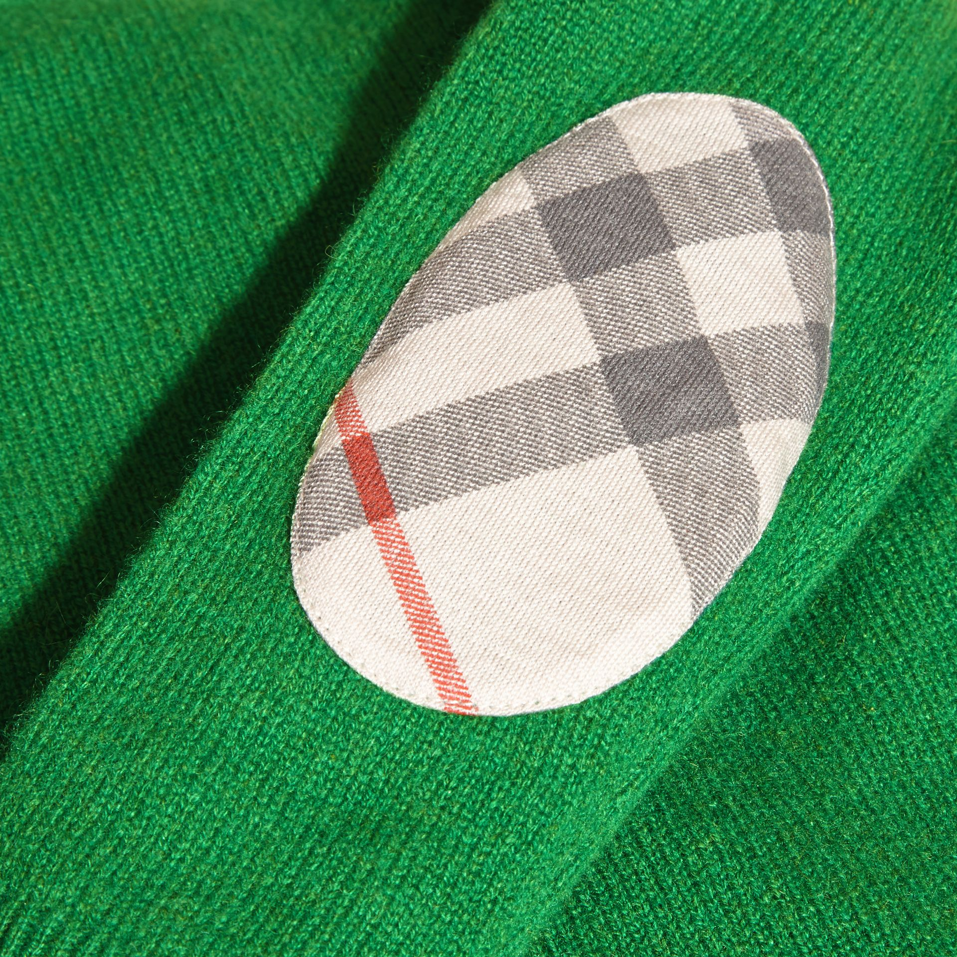 Bright pigment green Check Elbow Patch Cashmere Sweater Bright Pigment Green - gallery image 2