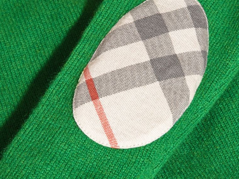 Bright pigment green Check Elbow Patch Cashmere Sweater Bright Pigment Green - cell image 1