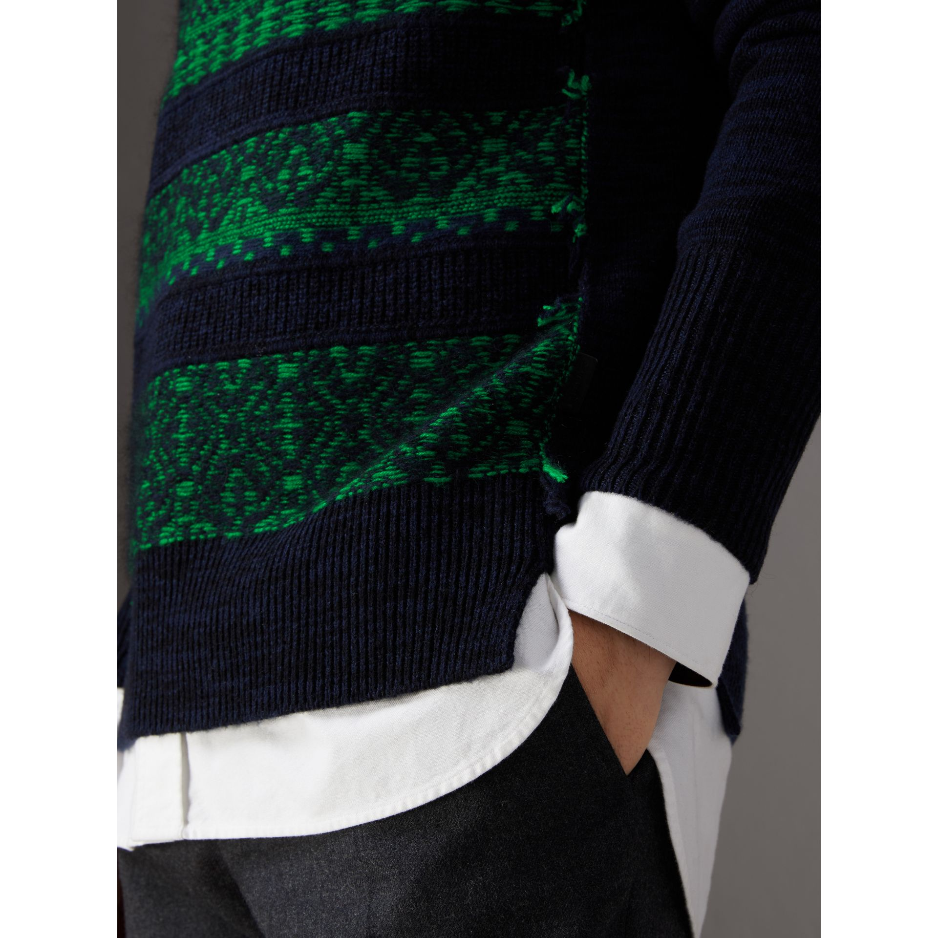 Fair Isle Detail Wool Cashmere Sweater in Bright Green - Men | Burberry - gallery image 2