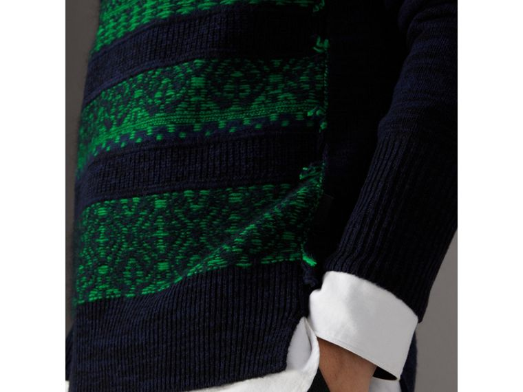 Fair Isle Detail Wool Cashmere Sweater in Bright Green - Men | Burberry United States - cell image 1