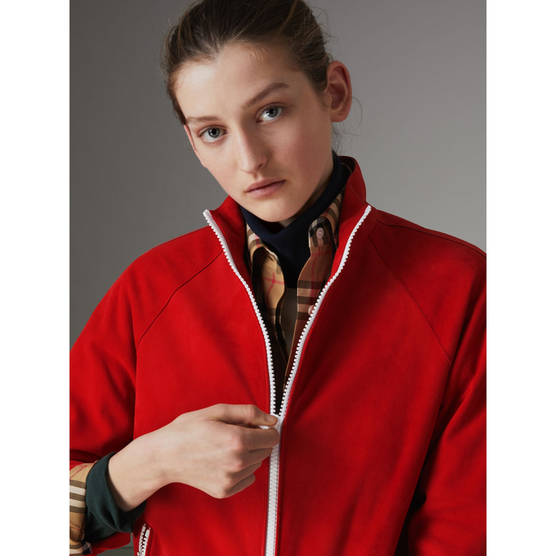 Veste de survêtement en cuir velours (Rouge Vif) - Femme | Burberry - photo de la galerie 1
