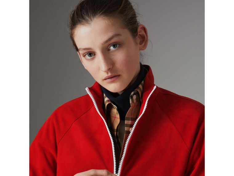 Suede Tracksuit Jacket in Bright Red - Women | Burberry - cell image 1