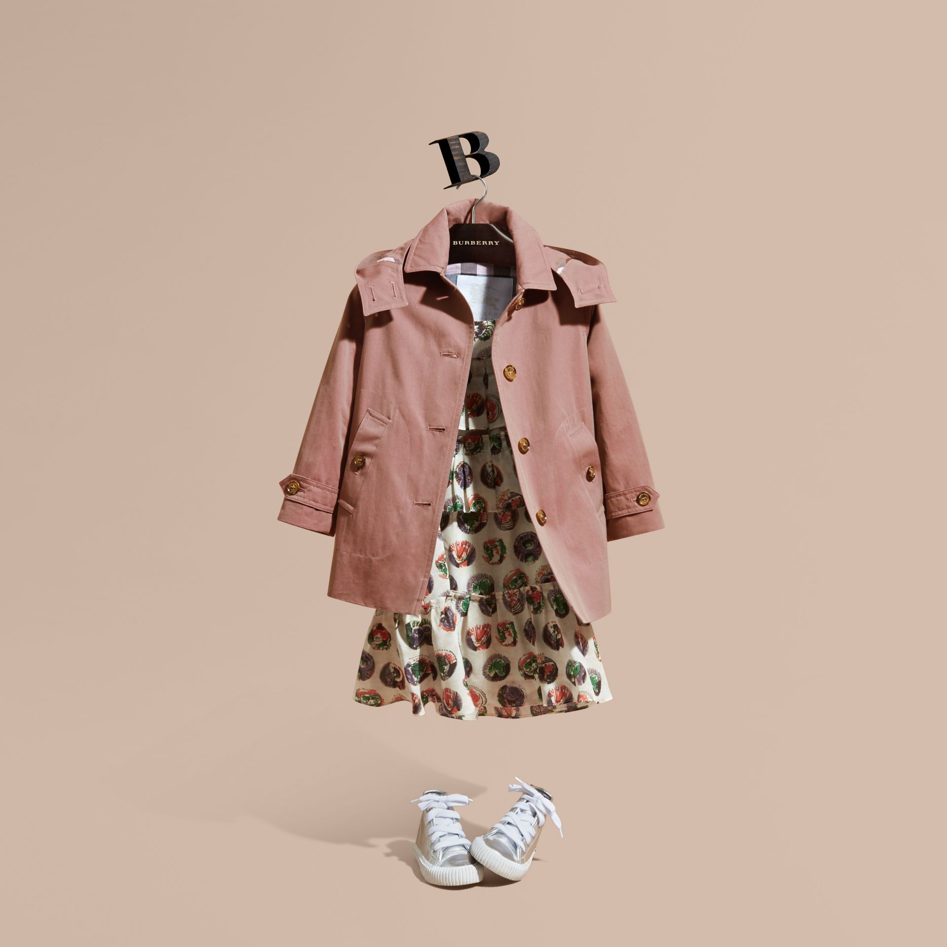 Detachable Hood Tropical Gabardine Trench Coat Antique Rose - gallery image 1