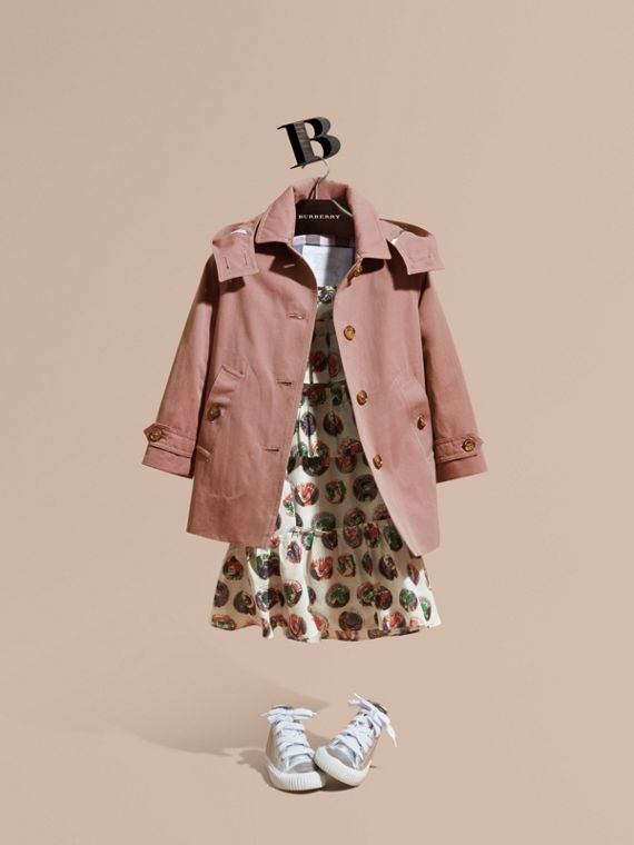 Detachable Hood Tropical Gabardine Trench Coat in Antique Rose