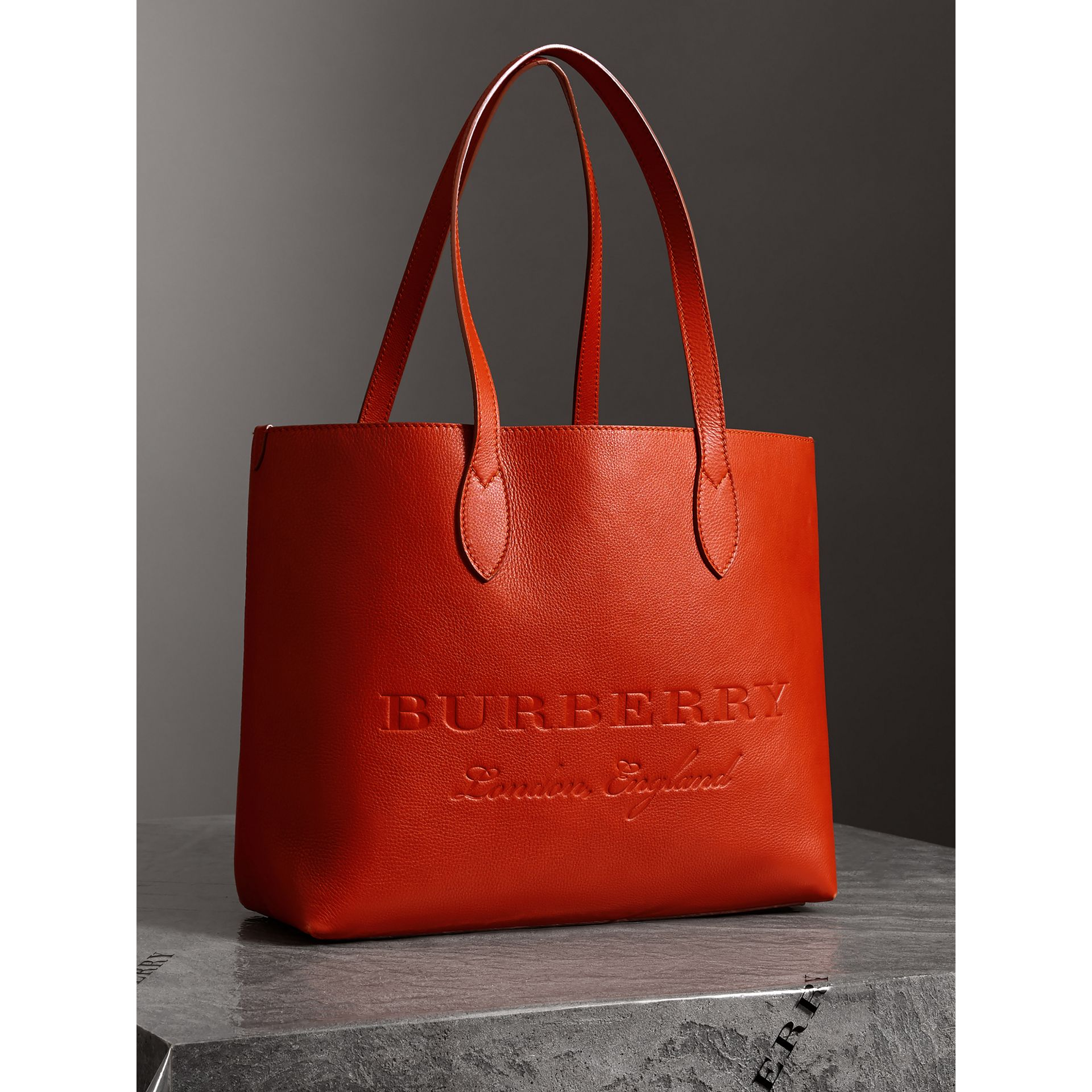 Embossed Leather Tote in Dark Clementine | Burberry - gallery image 6