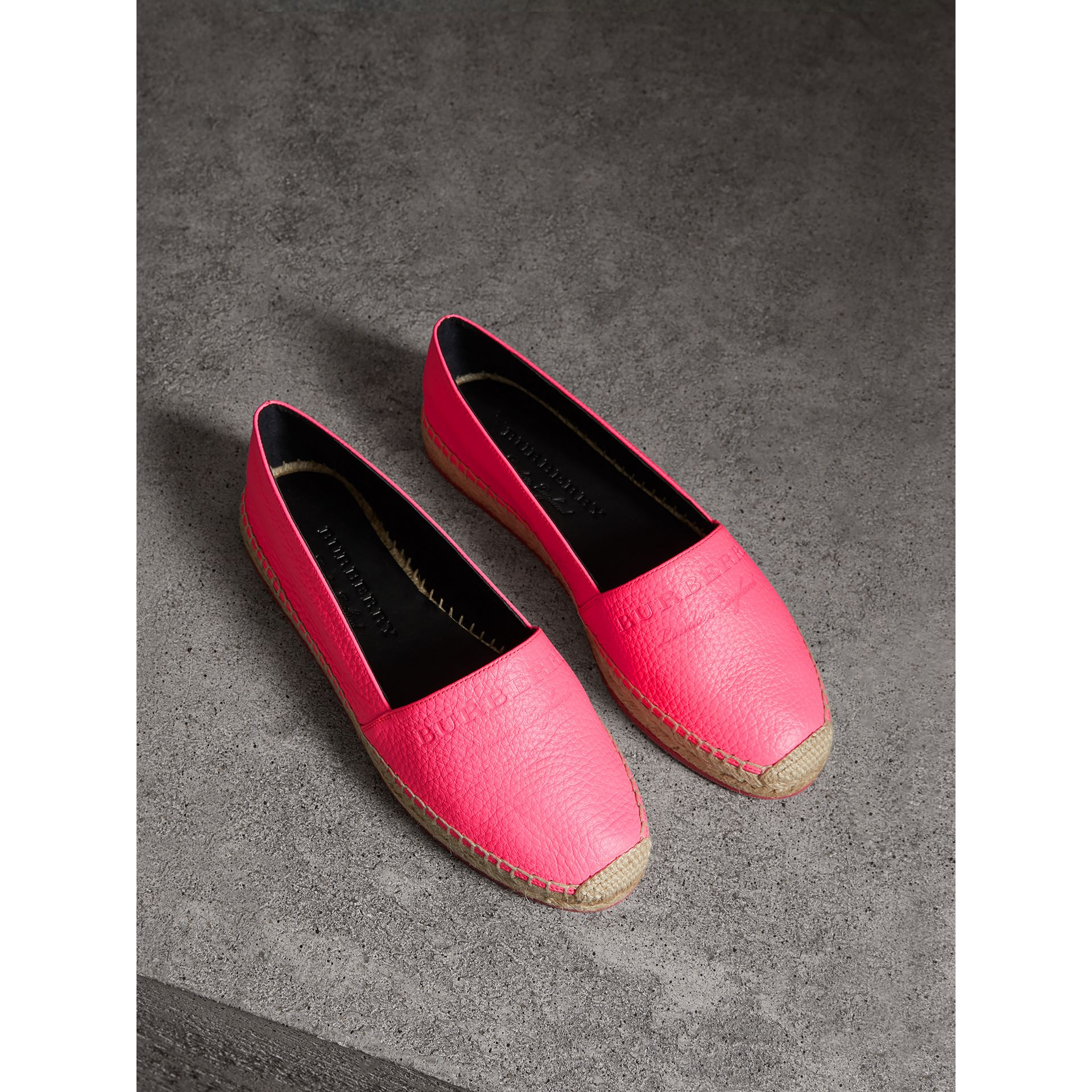 Embossed Grainy Leather Espadrilles in Neon Pink - Women | Burberry - gallery image 0