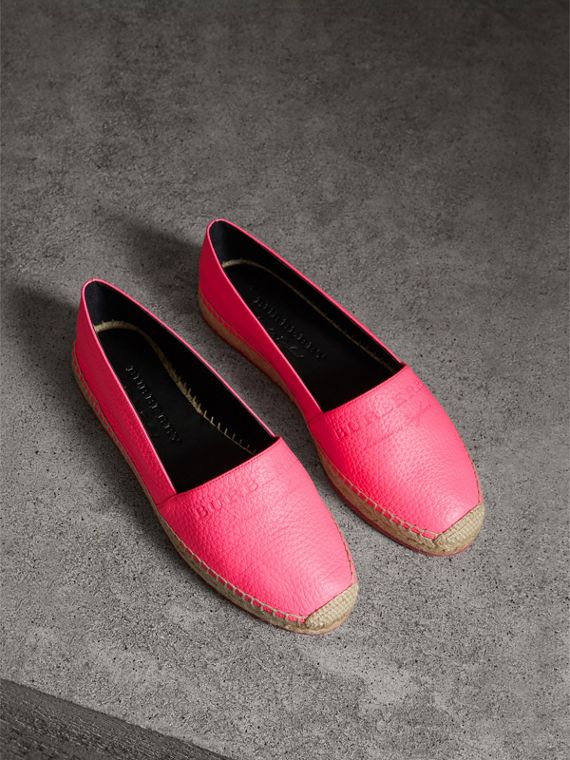 Embossed Grainy Leather Espadrilles in Neon Pink