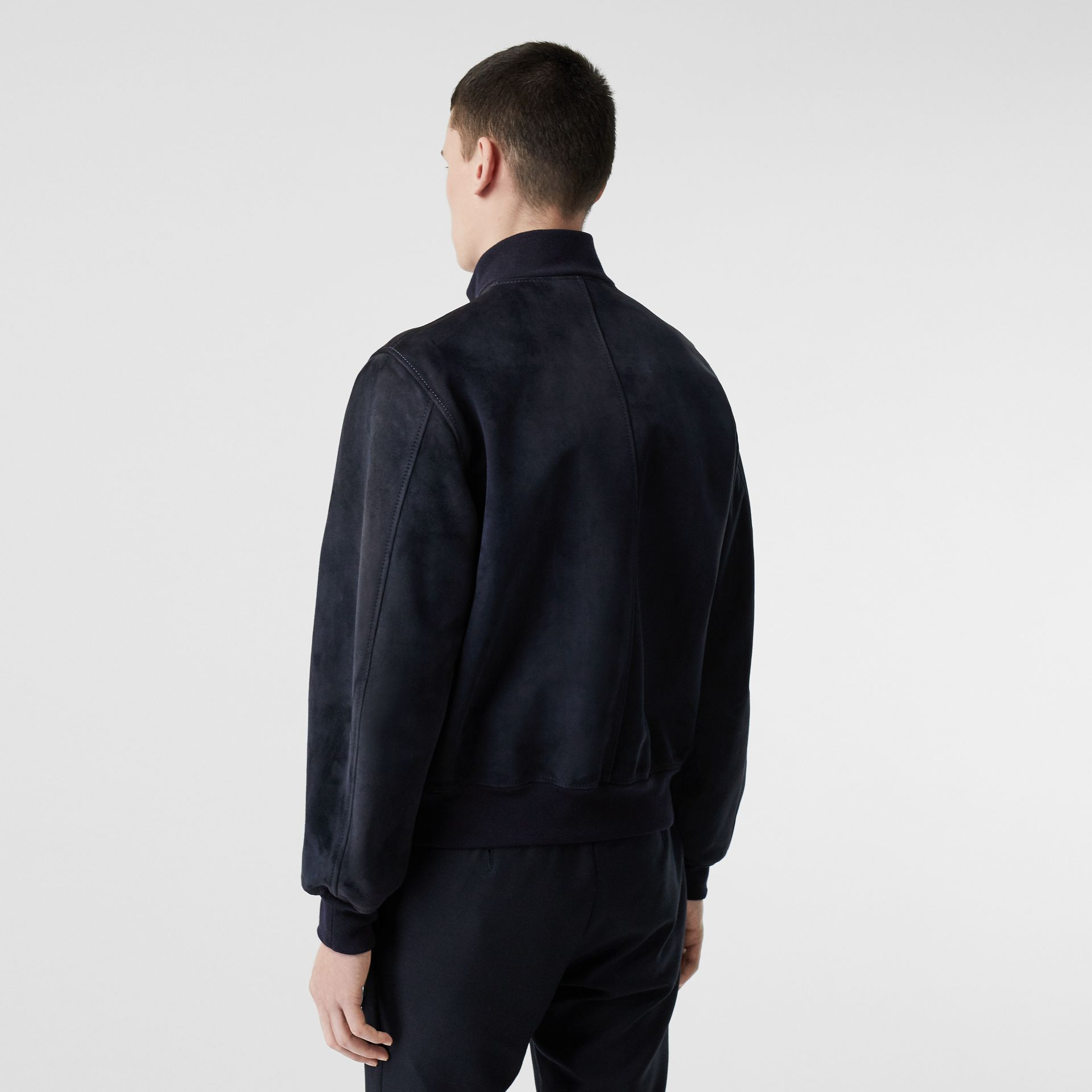 Bonded Suede Bomber Jacket in Navy/dark Brown - Men | Burberry Singapore - gallery image 2