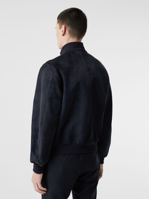 Bonded Suede Bomber Jacket in Navy/dark Brown - Men | Burberry United Kingdom - cell image 2