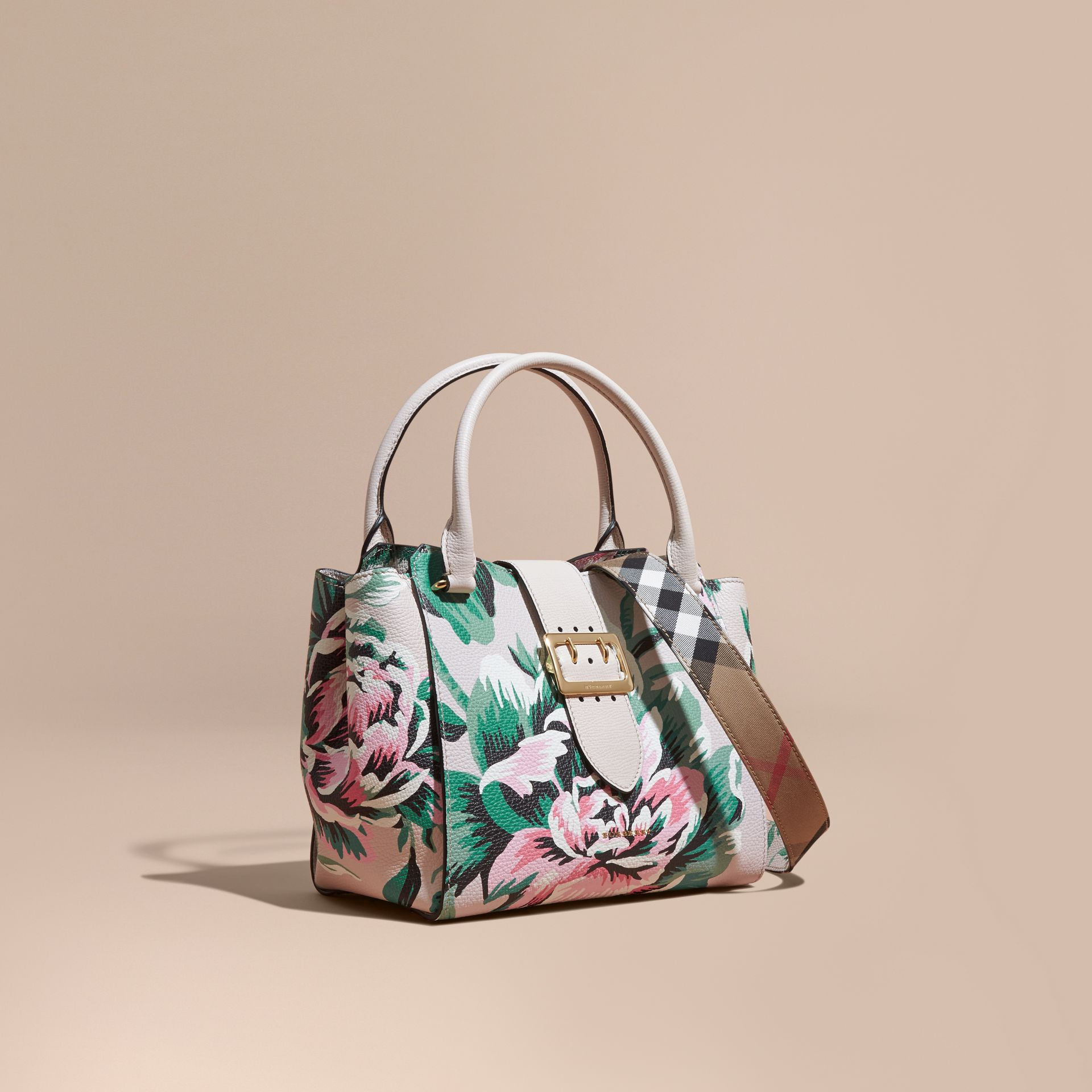 The Medium Buckle Tote in Peony Rose Print Leather in Natural/emerald Green - gallery image 1
