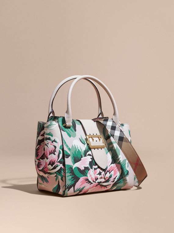 Borsa tote The Buckle media in pelle con peonie stampate Naturale/verde Smeraldo
