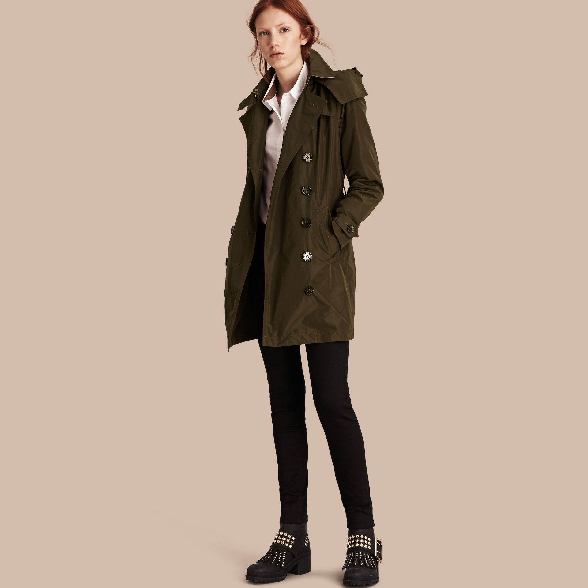 Dark olive Taffeta Trench Coat with Detachable Hood Dark Olive - immagine della galleria 1